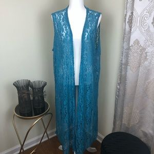 LuLaRoe Turquoise Lace Joy Duster covered-up XL